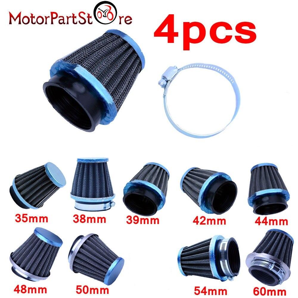 4pcs Motorcycle Universal Air Filter 60mm 54mm 52mm 50mm 48mm 42mm 39-38mm 35mm
