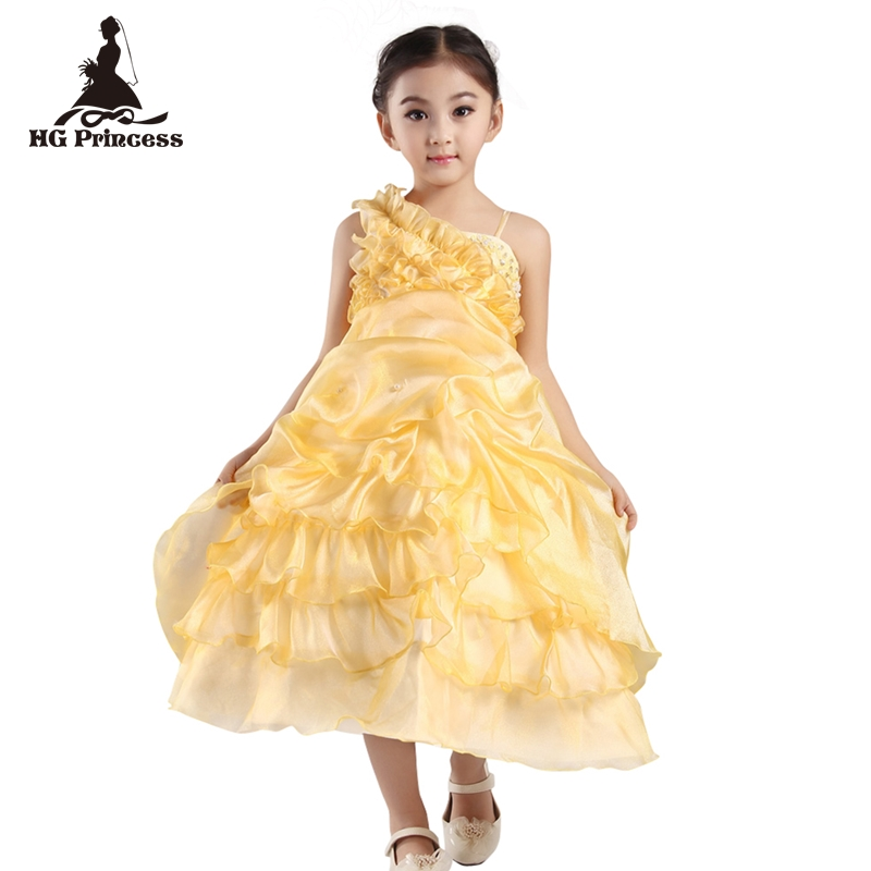 Free Shipping 2-12 years One Shoulder Kids Party Dress 2018 new Arrival Pageant Ball Gown For Girls Flower Girl Dresses Factory new arrival 2017 children party dress for girls 2 to 10 years beauty glitz cupcake pageant special occasion dresses baby