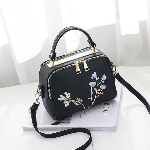 High Quality Print Flower Shop Online Women Handbags Hot Sale Cheap Lady  Shoulder Document Bags Girl Black Crossbody Bags Canta a142330297be2