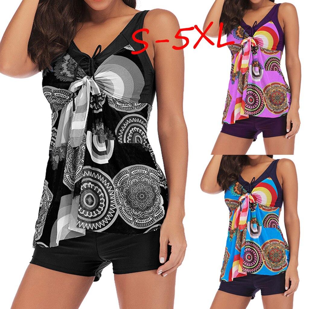 Lovely Girl Plus Size Suits Women Plus Size Print Tankini Swimjupmsuit Swimsuit Beachwear Padded Swimwear 30 Drop Shipping