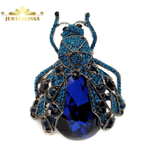 Antique Designer Blue Rhinestone Big Cicada Brooch Silver Tone Pave Crystal Pear Shaped Tail Statement Bug Pins Monster Jewelry