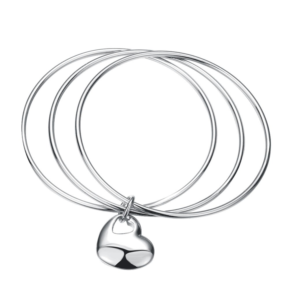 New high quality silver plated Wedding lady love cute women three laps hanging hearts bracelet bangle