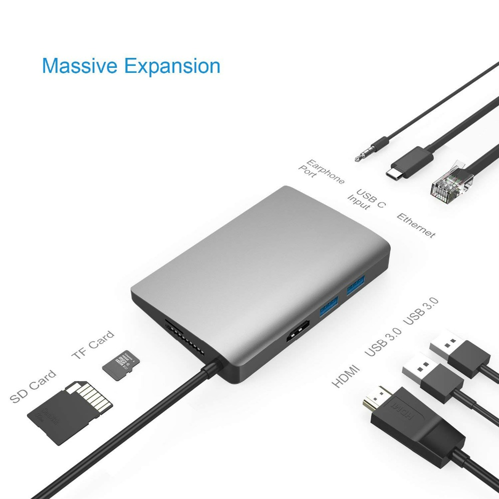 USB C Hub 8-in-1 USB C Adapter with Gigabit Ethernet Type C Power Delivery HDMI Output SD & TF Card Reader 2 USB PortsUSB C Hub 8-in-1 USB C Adapter with Gigabit Ethernet Type C Power Delivery HDMI Output SD & TF Card Reader 2 USB Ports