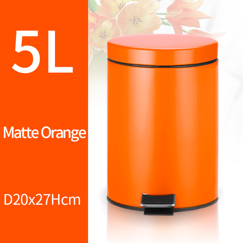 5L Trash Can Kitchen Living Room Office Garbage Dust Bin Bathroom Storage Rubbish Bucket Storage Box Pedal Waste Can Orange