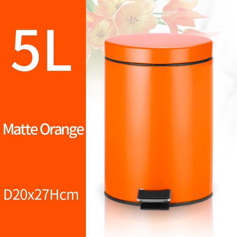 5L Trash Can Kitchen Living Room Office Garbage Dust Bin Bathroom Storage Rubbish Bucket Storage Box Pedal Waste Can Orange