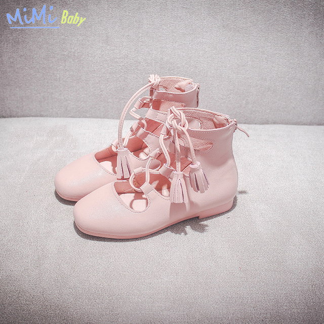 La niña de la princesa baby shoes 2017 cuero genuino con cordones antideslizante transpirable fashion girls dress shoes alta de gama alta calidad