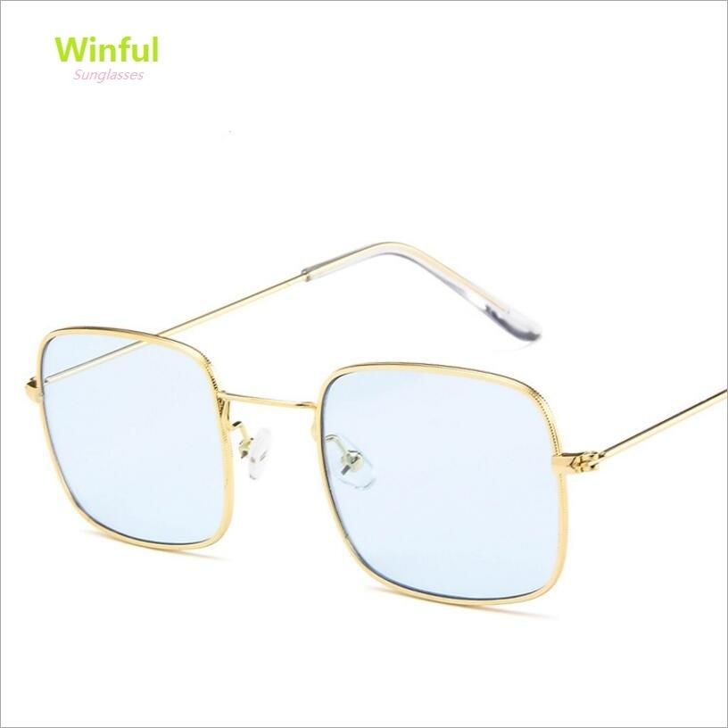 Unisex Trend Square Sunglasses Vintage Fashion Metal Sun glasses Women For Men Transparent ocean Mirror lens eyewear hot sale