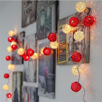 3M 20 LED White Red Rattan Ball LED Battery String Lighting Holiday Christmas Wedding Party Curtain Decoration Lights led christmas lights decoration suction cup snowman christmas tree curtain lights battery lights holiday atmosphere lighting
