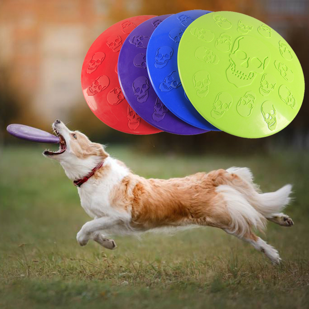 Outdoor Pet Skull Flying Disc Rubber Frisbee Toy For Dog Fetch Training Fetch Toys Dogs Training Flying Disc Playing Toy Int
