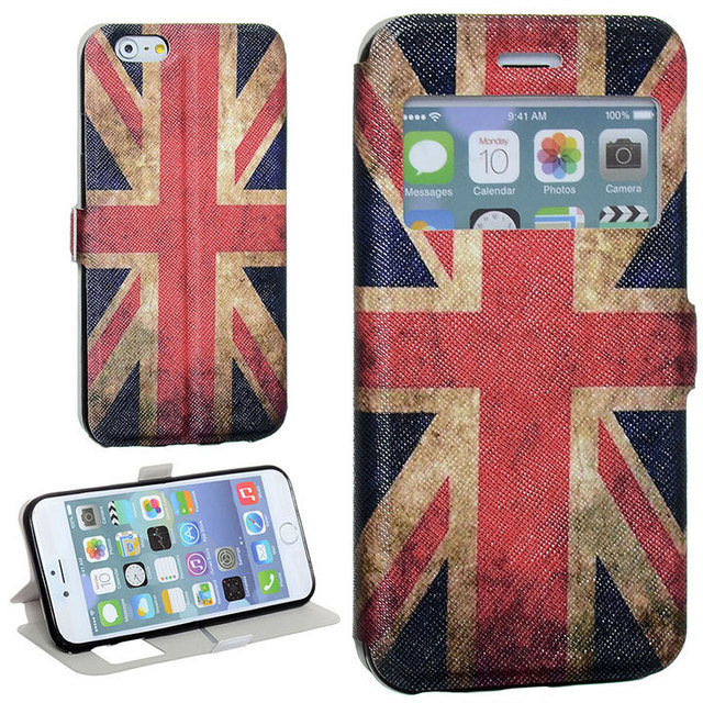 Luxury Window View Dust British Union Jack Flag Maganetic Buckle Stand Flip Tpu Pu Leather