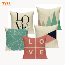 TOX Nordic Vintage Cushion Cover Square 45*45cm Colorful Plaid Geometric Cushions For Sofa Seat Luxury Home Decor