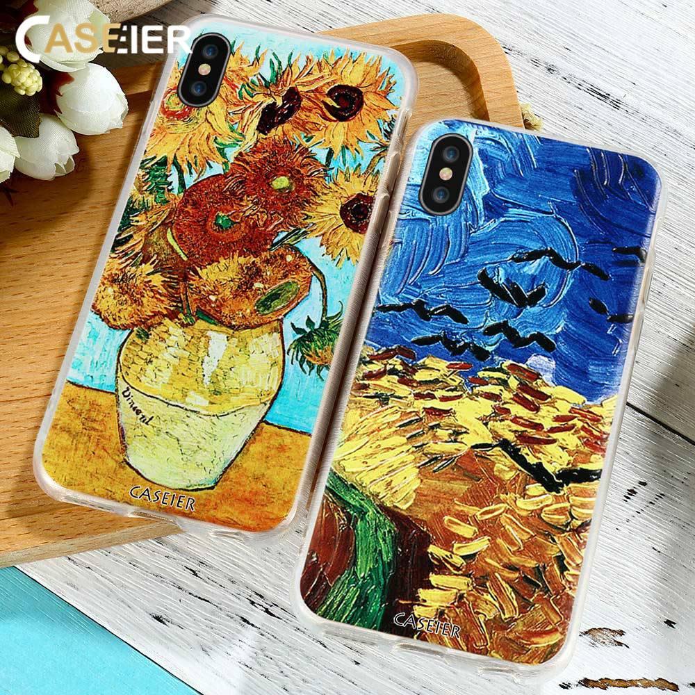 CASEIER SunFlower Phone Case For iPhone X Plus 3D Emboss Soft TPU Cover For iPhone 6 7 Plus Van Gogh Series Funda Capinha Shell
