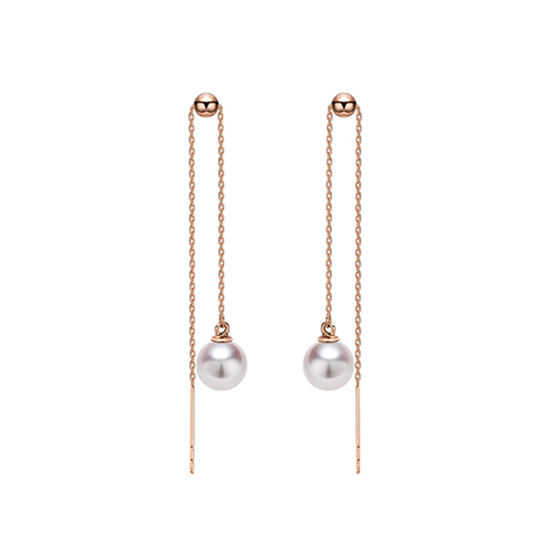 Sinya Au750 gold drop earring with 7 9 mm Natural Round high luster pearls long chain