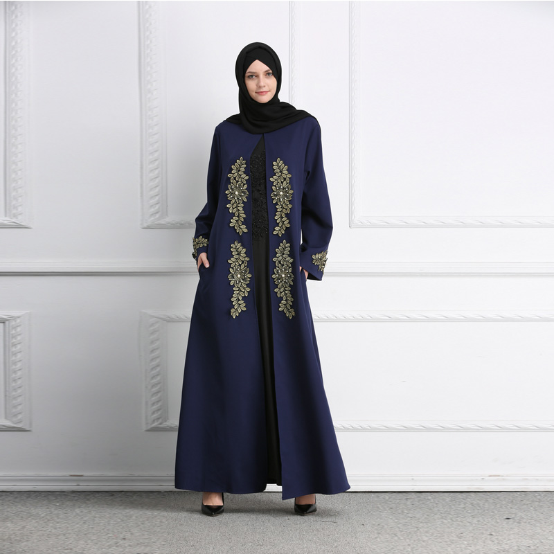 Adult Casual beading diamond embroidery Robe abaya Turkish Dubai Fashion Muslim Robes Abaya Arab Worship Service Wj1773 dropship