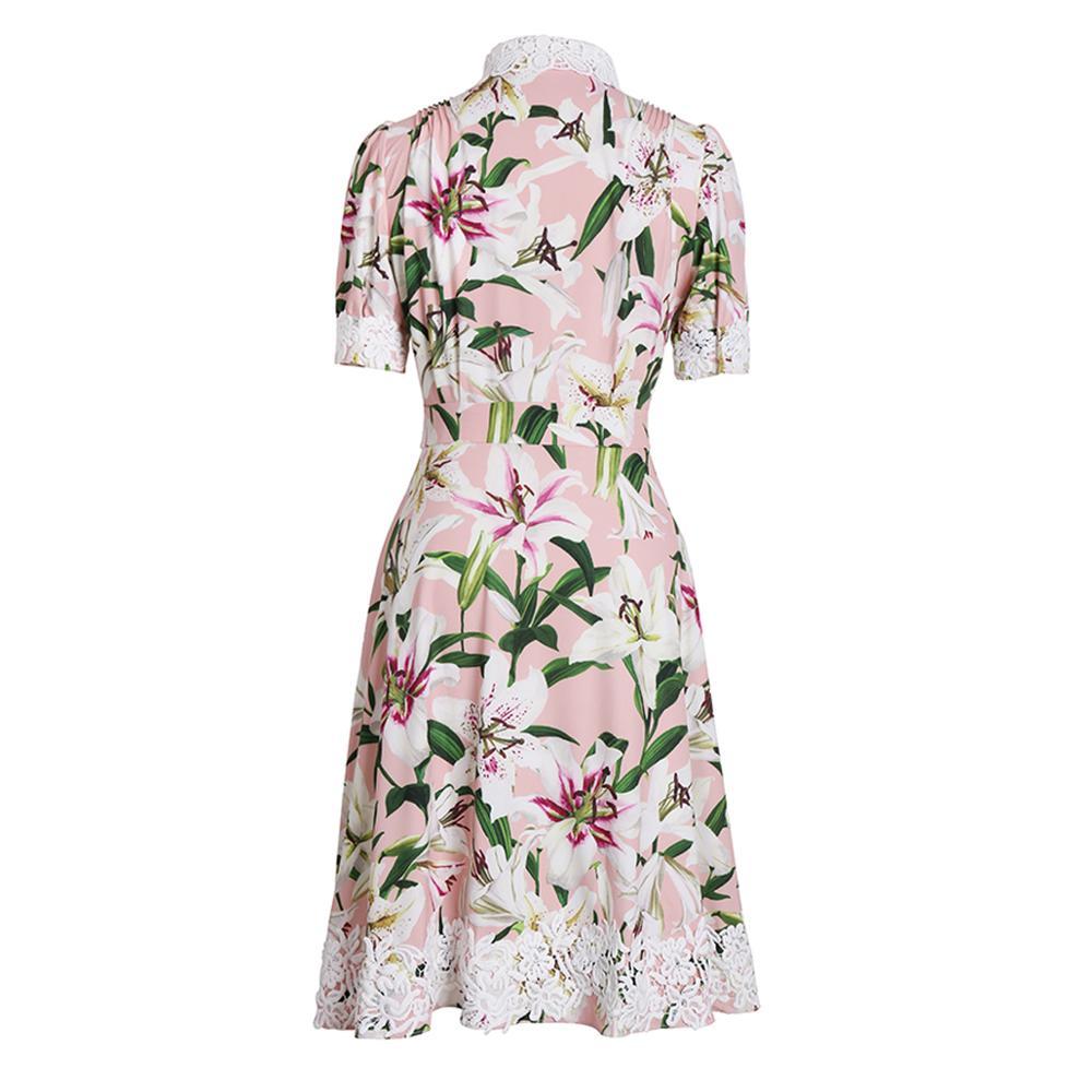 Rot RoosaRosee Fashion Runway Frauen Blume Tasten Kleid Vintage Print Kurzarm Elegante Boutique Kleider Party Vestidos Robe-in Kleider aus Damenbekleidung bei  Gruppe 2