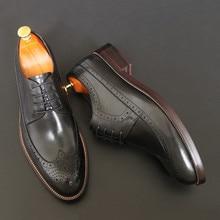 Осенне-зимняя мужская обувь с перфорацией типа «броги», деловая обувь из натуральной кожи, свадебные туфли-оксфорды для отдыха