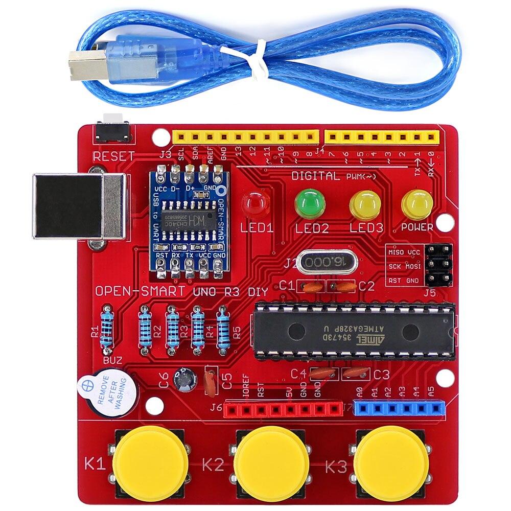 OPEN-SMART UNO R3 DIY ATmega328P Development Board Module CH340 Driver With Buzzer LED Button For Arduino UNO R3 - Red