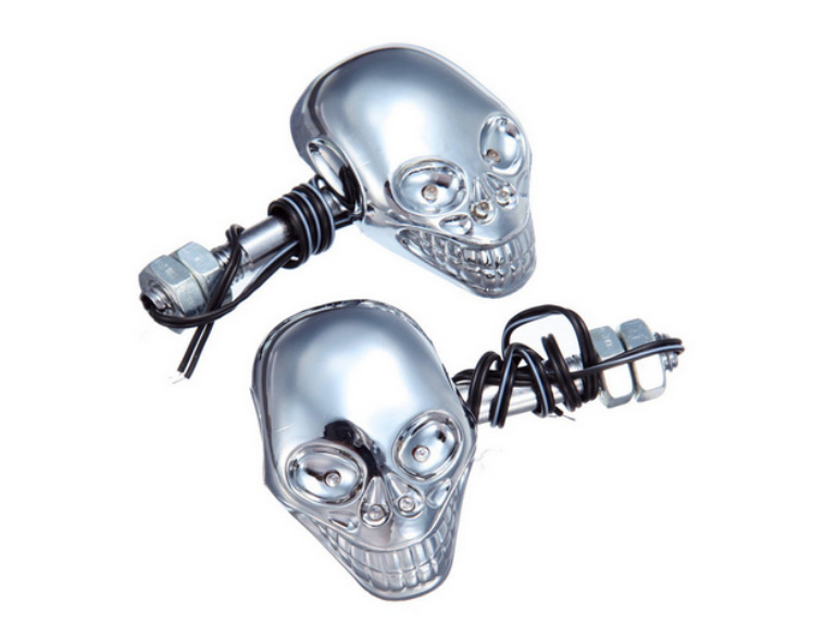 Motorcycle Chrome Skull LED Turn Signal Lights Dual Dirt ...