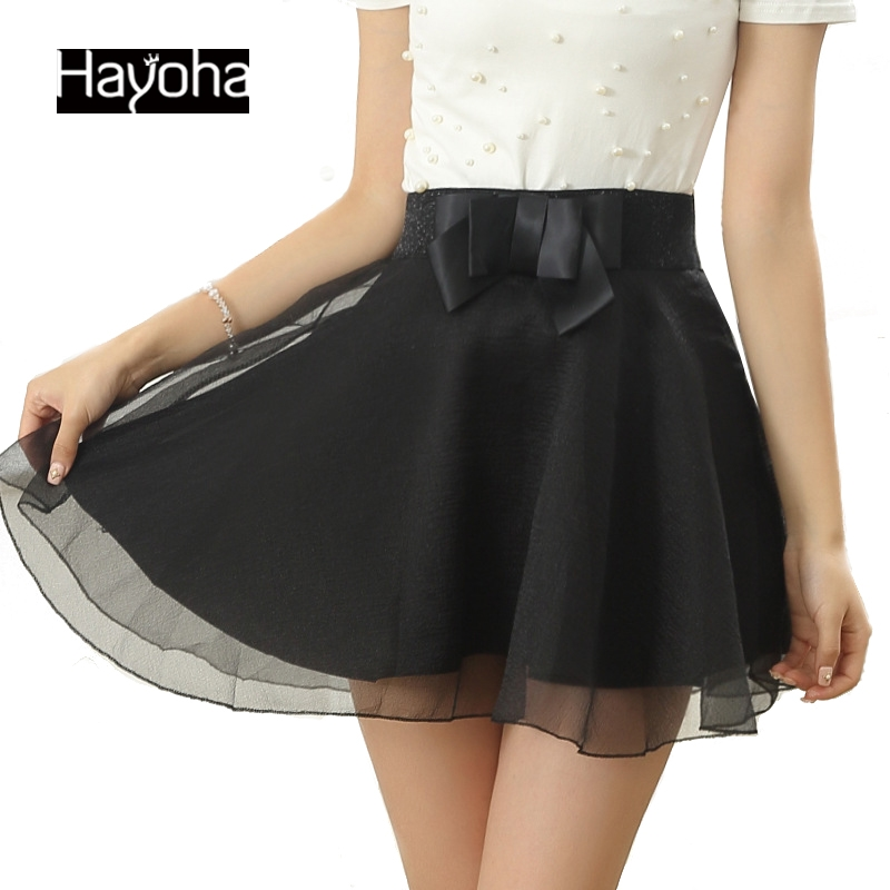 2017 new casual Summer style bow organza skirts tutu skirts womens big yards lace elastic waist fashion skirt