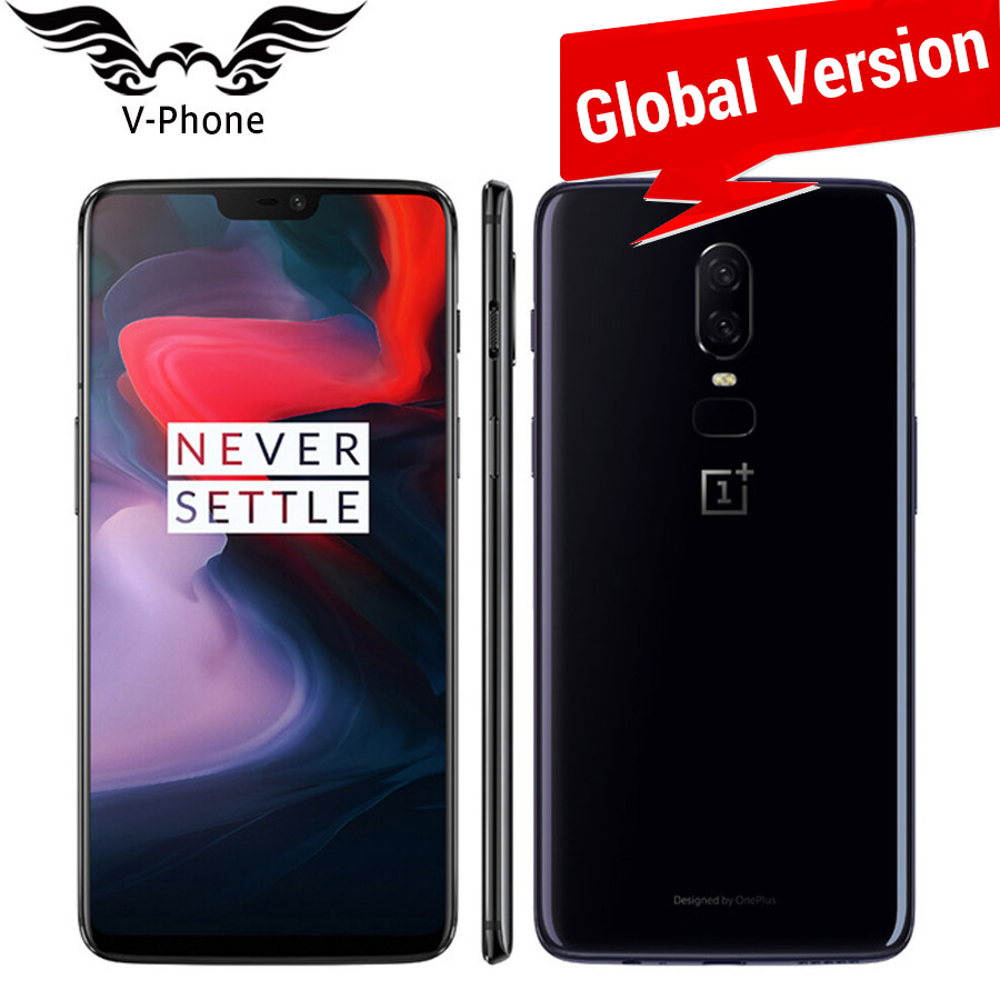Global Version Oneplus 6 A6003 4G LTE Mobile Phone 6.28 8GB 128GB Snapdragon 845 Android 8.1 Dual Camera 20MP NFC Waterproof