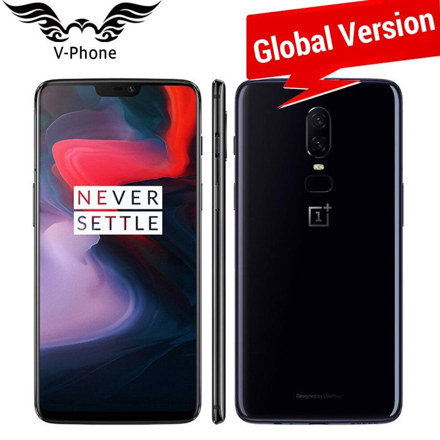 Mondial Version Oneplus 6 A6003 4g LTE Mobile Téléphone 6.28 ''8 gb 128 gb Snapdragon 845 Android 8.1 double Caméra 20MP NFC Étanche