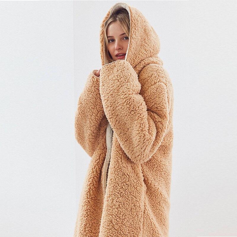 Warm Hooded Lambs Fur Jacket Reversible Velvet Parka Fleece Double Sides lambswool Coat hoodie Bomber Cardigan Trench Coats Tops