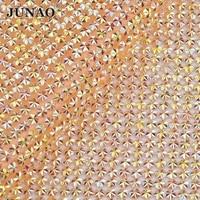 JUNAO 24 40cm Yellow AB Crystal Self Adhesive Rhinestones Mesh Trim Bead Applique Hofix Strass Roll
