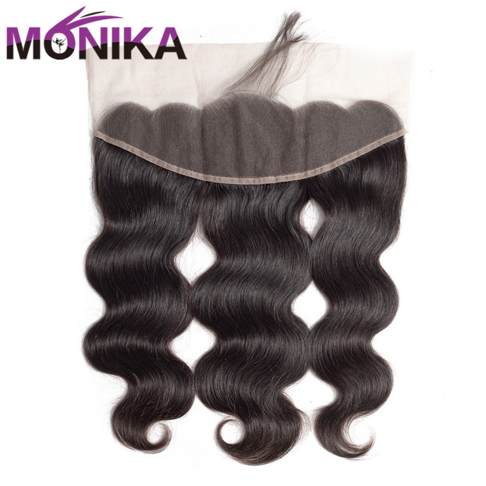 Monika Hair Indian Body Wave 13x4 Lace Frontal Free/Middle/Three Part Ear to Ear Non Remy Human Hair Pre Plucked Lace Closure