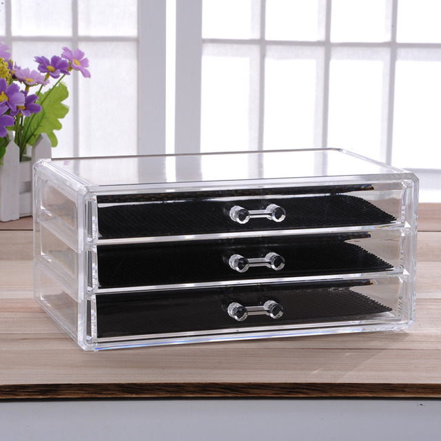 Acrylic Make Up Organizer 3 Drawers Storage Box Clear Plastic Cosmetic Storage  Box Organizers Brush Cosmetic