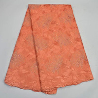 2017 Hot Sale peach Swiss Voile Lace High Quality African Guipure Lace Fabric Nigerian Cotton Lace Fabric For Party Dress