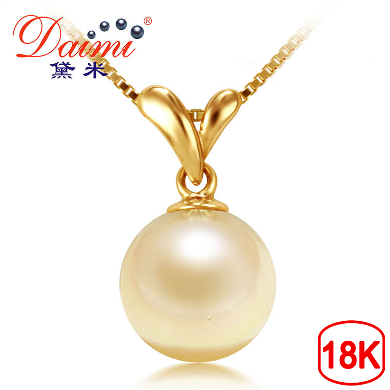 DAIMI Perle Akoya Collier 100% Naturel Or Perle Pendentif Collier Genuine18K Jaune Or Avec Akoya Perles Pour Femmes HERBE