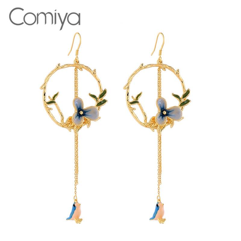 ac0a1cfcaa80 Pendientes De aleación De Zinc De marca Comiya para Mujer accesorios  Vintage joyería De Color oro patrón De pájaro Aretes De Mujer Aliexpress