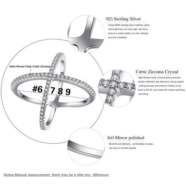ELESHE Original Jewelry 925 Sterling Silver Cross Rings CZ Crystal Wedding Rings For Women Fashion Finger RING SIZE 6-9
