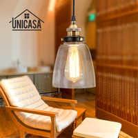 Vidro transparente Sombra Luzes Pingente Industrial Iluminação Ilha de Cozinha Bar Escritório Mini LED Pingente Moderno Lâmpada Do Teto