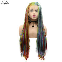 Sylvia Colorful Box Braided Wigs Rainbow Synthetic Lace Front Wig Peach Yellow Orange Red Blue Green Purple Long Hair For Women