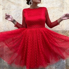 bohemian spring Women long sleeve dress 2019 Sexy Dot Full Backless O-Neck lace dinner Dresses Fashion Party red midi Dress