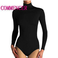 Thin Section Ladies Bodysuit Polo Turtle Neck Long Sleeve Stretch Leotard Top 0015