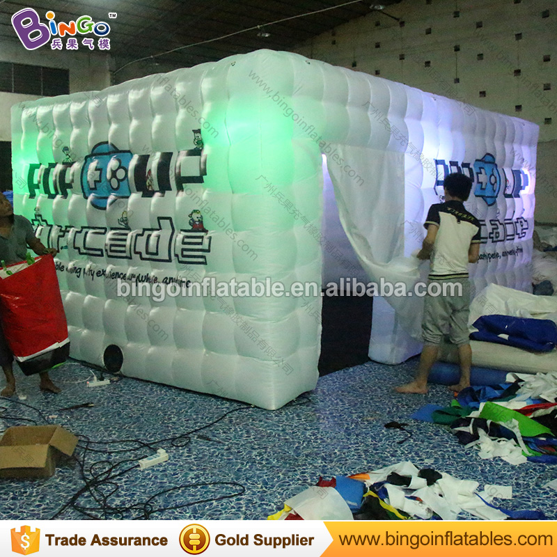 Advertising tent type 5.5X3.5X2.5 M LED lighting inflatable kiosk with customized digita ...