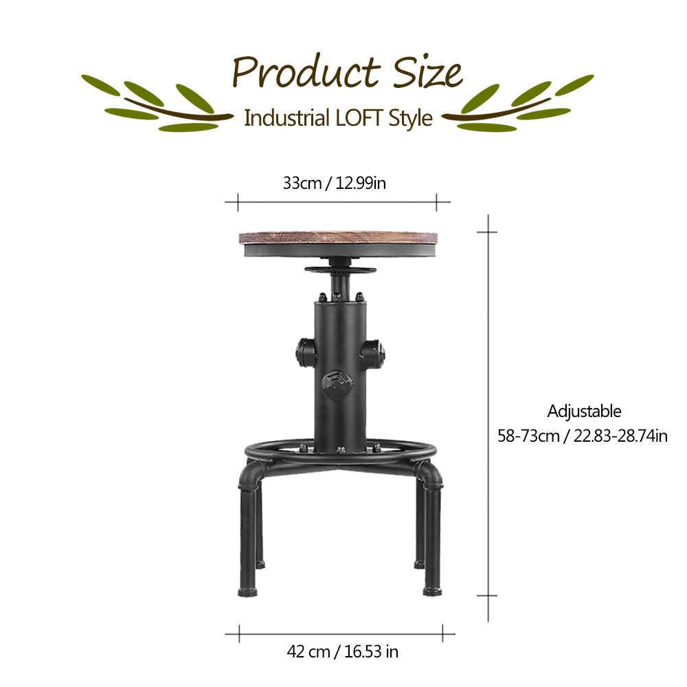IKayaa โลหะอุตสาหกรรมบาร์สตูลความสูงปรับหมุน Pinewood Top เก้าอี้รับประทานอาหารห้องครัวท่อสไตล์ Barstool W/เท้า