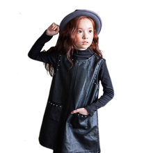 2017 New Korean Edition Girl PU Leather Dress Fashion Casual Baby Girls Clothes Toddler Dresses For Teenage Girls 4 9 10 14 Age