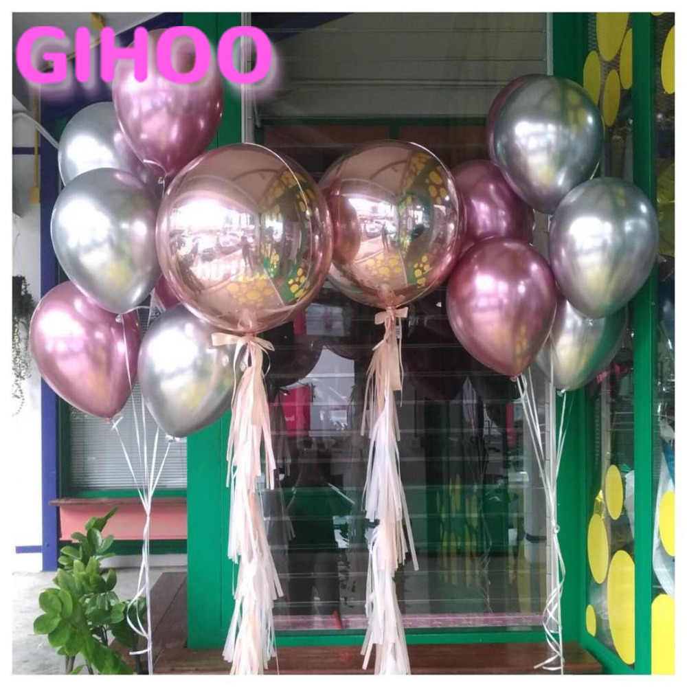 20PCS 10inch Rose Gold 4D Round Balloons Pink Silver Chrome 12inch Metal Latex Balloons Birthday Party Wedding Decorations Toys