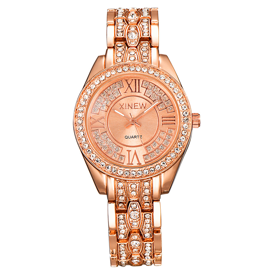 XINEW Brand Original Women Stainless Steel Watches Fashion Luxury Rose Gold Rhinestone Casual Quartz Watch Reloj Mujer Lujo 2018 nary watch women fashion luxury watch reloj mujer stainless steel quality diamond ladies quartz watch women rhinestone watches