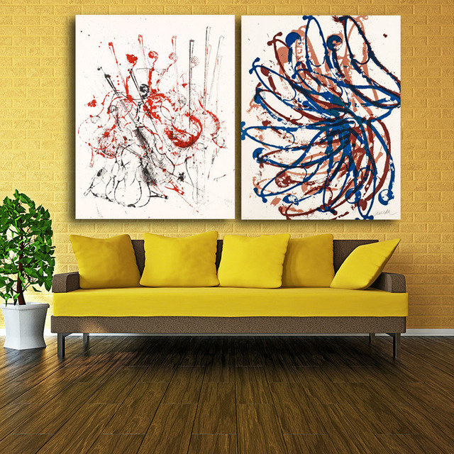 2017 2 panel Canvas Prints Colorful lines Painting Wall Art Home ...