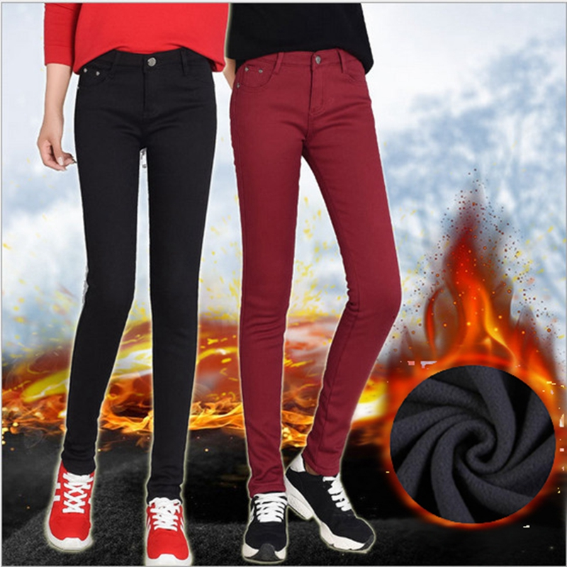 2018 New Women's Warm Skinny   Jeans   Plus Size Candy Color Thick Velvet Winter   Jeans   Warm Women Stretch   Jeans   Denim Pencil Pants