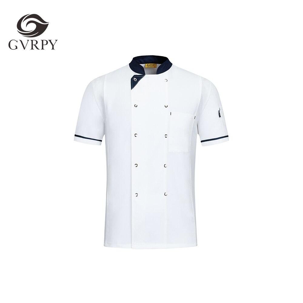 High Quality Short Sleeve Uniform Men's Kitchen Work Uniform Shirt Catering Service Hotel Restaurant Summer Work Uniform