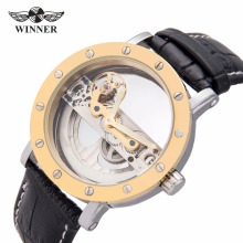 WINNER Business Classic Men Skeleton Auto Mechanical Watch Golden Bridge Black Leather Unique Design Best Gift for Boyfriend