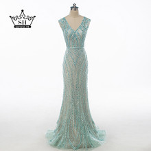 Luxury Dubai Robe De Soiree Pearl Sequins Long Evening Dresses V neck Mermaid Prom Dress Party