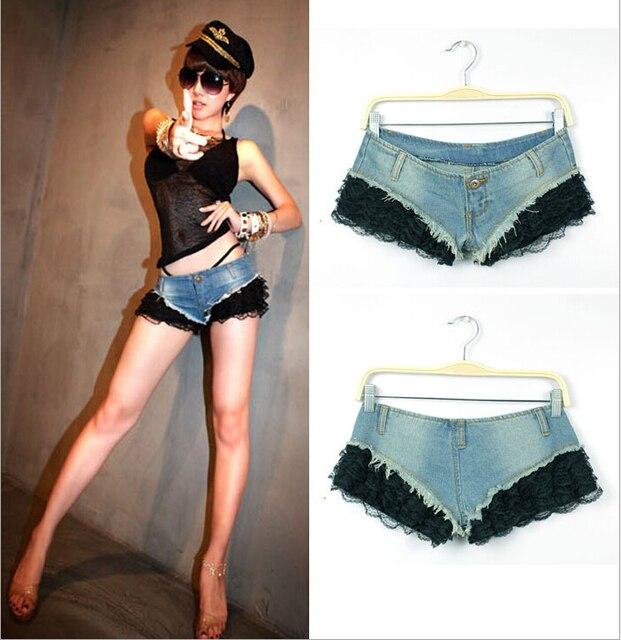 2016 Nova Moda Casual Skinny Cowboy Euramerican Ligamento Lateral Quente preto Broto de Seda Sexy Cintura Baixa Denim Shorts Jeans Para mulheres