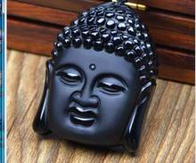 zhmui88007++ Natural Black Obsidian Carved Buddha Blessing Lucky Amulet Pendant Necklace(China)