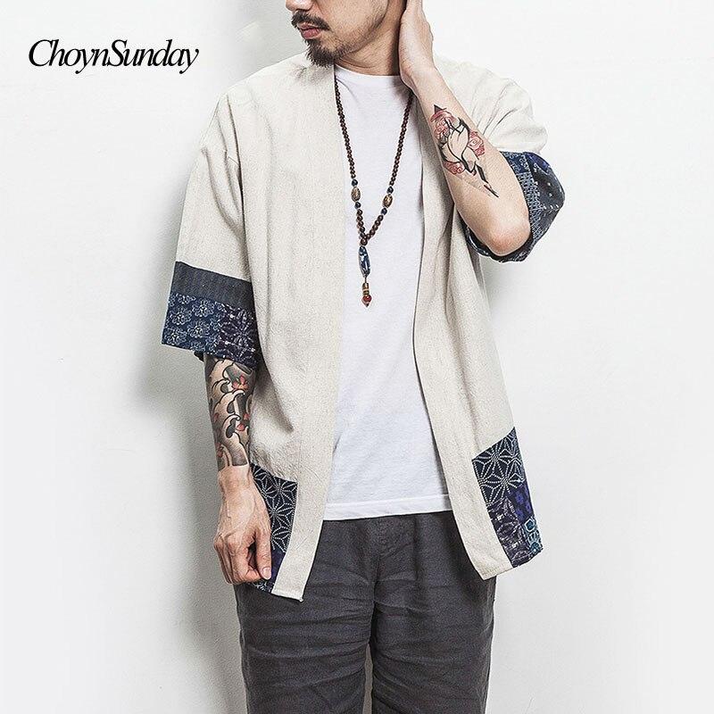 Men's Clothing Kimono Shirt Men Chinese Streetwear Vintage Kimono Shirt Men Linen Kimono Cardigan Men Shirt Plus Size 5xl 2018 X Y Shirts